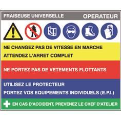Fiche sécurité fraiseuse universelle - H 200 x L 240 mm - PVC 2 mm