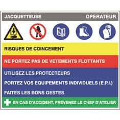 Fiche sécurité jacquetteuse - H 200 x L 240 mm - PVC 2 mm