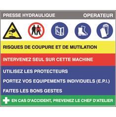 Fiche sécurité presse hydraulique - H 200 x L 240 mm - PVC 2 mm