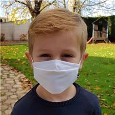 Masque tissu enfant avec pince nez - Catégorie UNS1 - 50 lavages Blanc