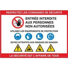 Panneau Consignes de sécurité - La sécurité c´est l´affaire de tous