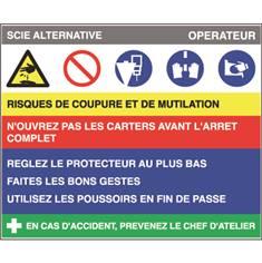 Fiche sécurité scie alternative - H 200 x L 240 mm - PVC 2 mm