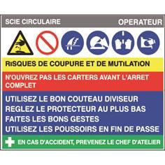 Fiche sécurité scie circulaire - H 200 x L 240 mm - PVC 2 mm