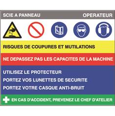 Fiche sécurité scie à panneau - H 200 x L 240 mm - PVC 2 mm