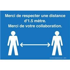 Panneau Respecter une distance d´1.5 mètre - bleu Autocollant A4