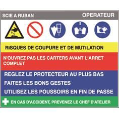 Fiche sécurité scie à ruban - H 200 x L 240 mm - PVC 2 mm