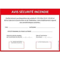 Panneau Avis Sécurité Incendie en Alu dibond 3 mm