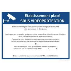 Panneau établissement scolaire sous vidéo surveillance à remplir par vos soins - RGPD - Alu dibond 3 mm