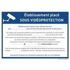 Panneau entreprise sous vidéo surveillance à remplir par vos soins - RGPD - Alu dibond 3 mm