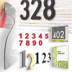 Chiffres découpés et numéros de chambre