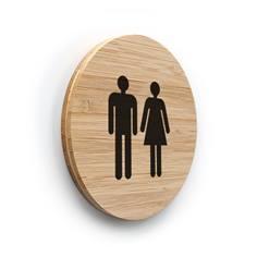 Plaque de porte picto Toilettes Hommes Femmes ø 100 mm - gamme Bamboo