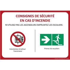 Panneau de sécurité Empruntez les escaliers