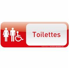 Plaque de porte Toilettes Homme Femme Handicapé Text´icone® - H 60 x L 160 mm