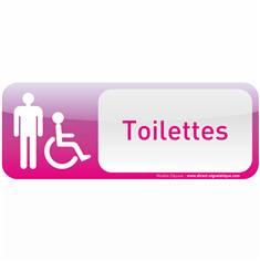 Plaque de porte Toilettes Homme Handicapé Text´icone® - H 60 x L 160 mm