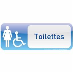 Plaque de porte Toilettes Femme Handicapé Text´icone® - H 60 x L 160 mm