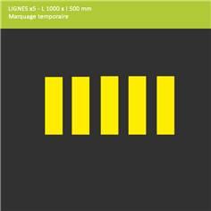 Lot de 5 lignes adhésives  pour passages piétons - L 1000 x l 500 mm - Extérieur