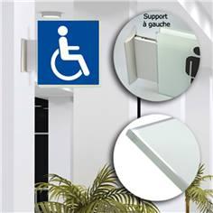 Drapeau avec picto verre trempé recto/verso - Toilettes Handicapés - 200 x 200 mm - Gamme Glass