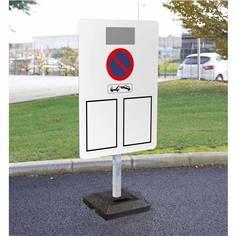 Kit pour signalisation temporaire panneau arrêté municipal avec poteau + socle 15 kg