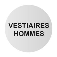 Plaque de porte aluminium brossé Texte Vestiaires hommes - Ø 83 mm - Gamme Bross
