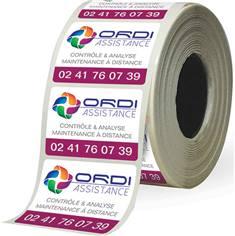 Rouleau de 1000 étiquettes industrielles personnalisées Usage intérieur