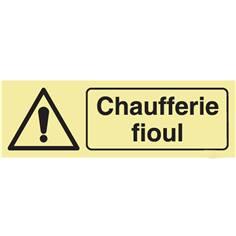 Panneau Attention Chaufferie fioul Photoluminescent Classe C - H 100 x L 300 mm
