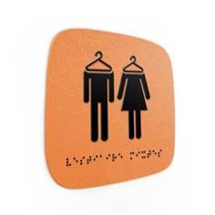 Plaque de porte Touchy® Square - Vestiaires - 120 x 120 mm - Relief et braille