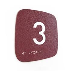 Plaque de porte Touchy® Square - Chiffre 3 - 120 x 120 mm - Relief et braille