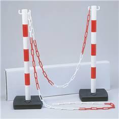 Kit de délimitation : 2 poteaux PVC + 1 chaîne