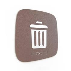 Plaque de porte Touchy® Square - Local poubelles - 120 x 120 mm - Relief et braille