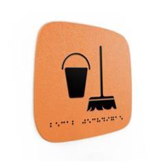 Plaque de porte Touchy® Square - Local technique - 120 x 120 mm - Relief et braille