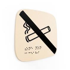 Plaque de porte Touchy® Square - Non-fumeurs - 120 x 120 mm - Relief et braille