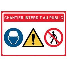 Lot de 5 Panneaux Chantier Interdit au Public Défense d´entrer - H 420 x L 600mm