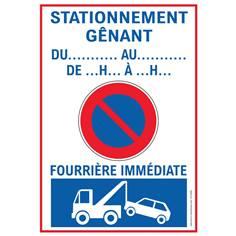 Lot de 5 Panneaux Stationnement Génant Temporaire avec Date - H 600 x L 420 mm