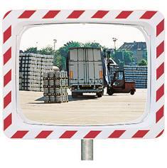 Miroir d´industrie avec cadre rouge et blanc hachuré-  2 directions