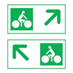 Panneau de présignalisation des carrefours pour pistes cyclables - flèche oblique Dv43c
