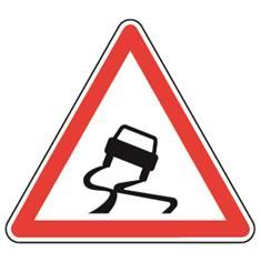 Panneau de danger Chaussée glissante - A4