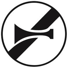 Panneau fin d´interdiction de klaxonner - B35