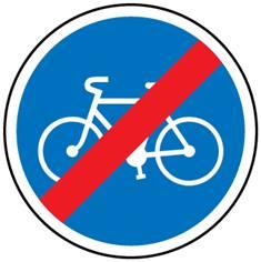 Panneau fin de piste ou bande cyclable obligatoire - B40