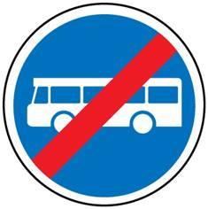 Panneau Fin de voie réservée transports communs - B45a