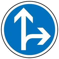 Panneau Aller tout droit ou à droite obligatoirement - B21d1