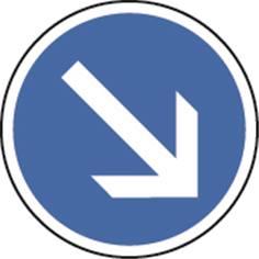 Panneau Temporaire Obligation de tourner à droite sur Pied solidaire - BK21a1