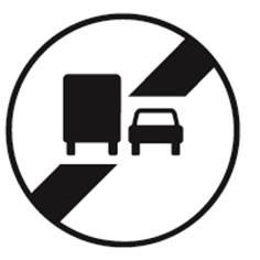 Panneau Temporaire Fin d´interdiction de dépasser pour les camions sur Pied solidaire - BK34a