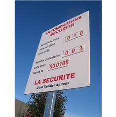Panneaux record sans accident à personnaliser avec chiffres sur glissière
