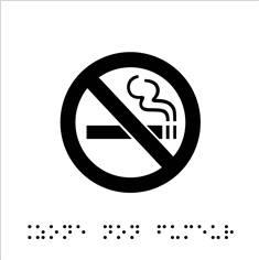 Plaque de porte picto relief - Zone non fumeur - 120 x 120 mm