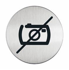 Plaque symbole Photos interdites - Alu brossé - Ø 83 mm