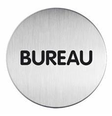 Plaque symbole Bureau - Alu brossé - Ø 83 mm