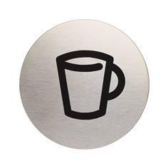 Plaque symbole Cafétéria - Alu brossé - Ø 83 mm