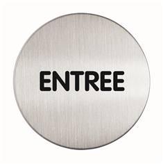 Plaque symbole Entrée - Alu brossé - Ø 83 mm