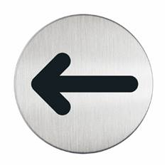 Plaque symbole Flèche - Alu brossé - Ø 83 mm