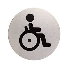 Plaque symbole Toilettes handicapés - Inox brossé - Ø 83 mm